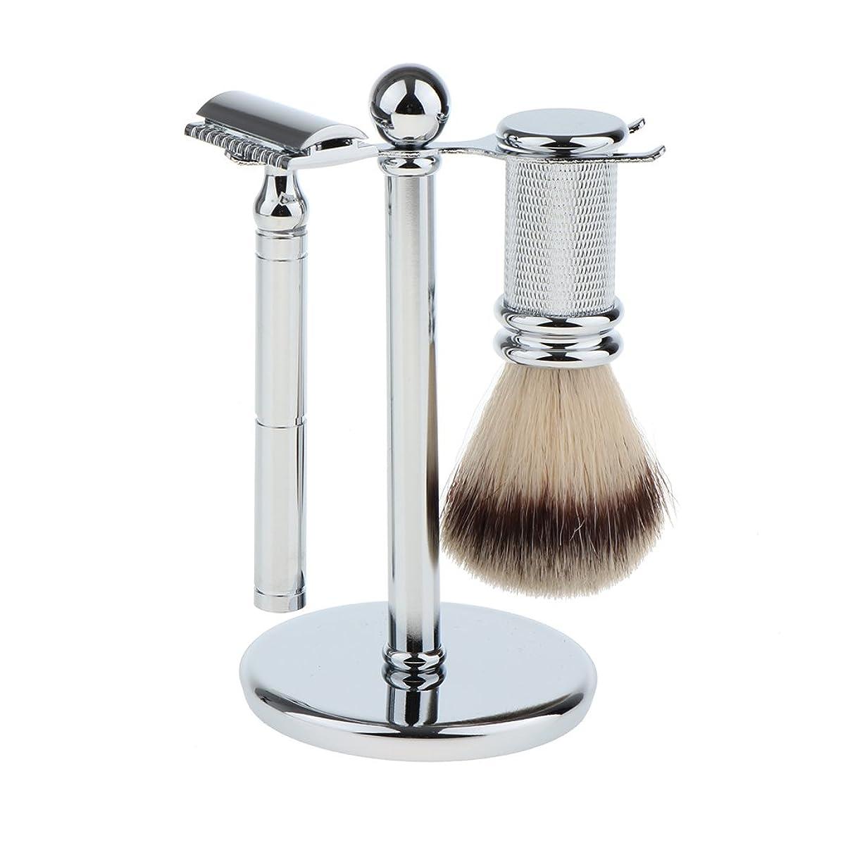 大工に対応オデュッセウスKesoto スタンド ブラシ マニュアルシェーバー 3本セット 男性用 シェービング ブラシスタンド マニュアル ダブルエッジ 安全剃刀