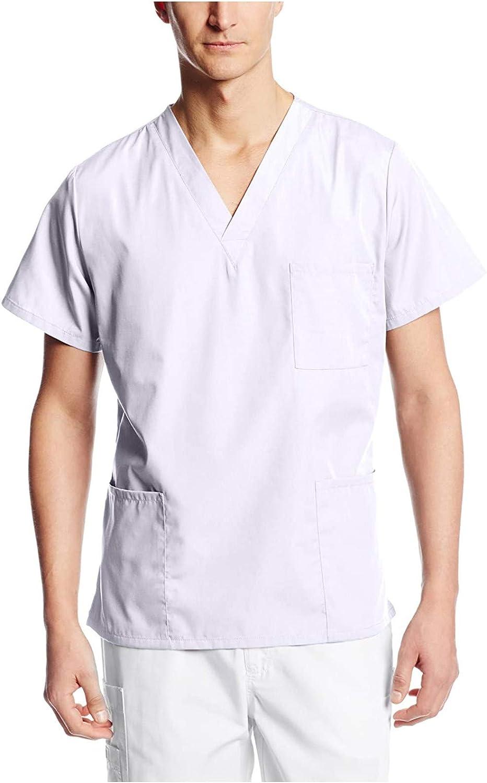 Esbelle Mens Medical_Scrub_Tops Comfy Solid Color Short Sleeve V