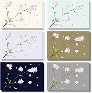 $24 » 120-Pack - All Occasion Assorted Blank Vintage Note Cards Greeting Cards Bulk Box Set - 6 Different Japanese Cherry Blossom Designs, Envelopes Included - 4 x 6 Inches