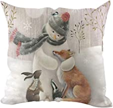 Unionm 9# Pillow Covers Christmas Decor Throw Pillow Case Linen Snowman Merry Christmas Theme Printed Square 45 x 45 cm 18 x 18 inch Cushion Cover for Home Sofa Car 1 Pack