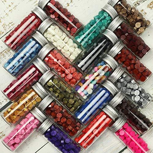 Sello de cera de 21 colores para sellar cuentas para sobres Tarro de boda Embalaje Regalos Postal Estampado de octágono 68 piezas Botella de tapa Alminum, E