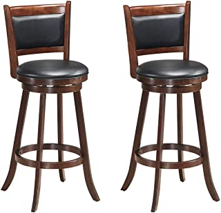 COSTWAY Bar Stools Set of 2,360 Degree Swivel, Accent Wooden Swivel Back Counter Height Bar Stool, Fabric Upholstered Design, PVC Cushioned Seat, Perfect for Dining and Living Room (Height 29