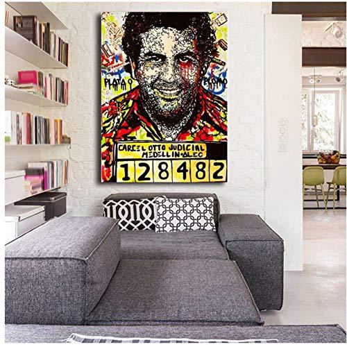 A&D Pablo Escobar Tapete HD Leinwand Poster Drucke Wandkunst Ölgemälde Dekorative Bild Moderne Dekoration-60x80 cm Kein Rahmen