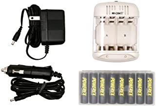 Powerex MH-C204GT8AAP Smart Charger with 8 Precharged AA 2600mAh Batteries