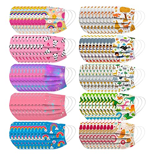 Kids Face Masks,100Pcs Child Disposable Face Mask with Designs,3 Ply Breathable Face Mask for Kids Girls Boys Outdoor School (100Pcs Disposable Face Mask-G)