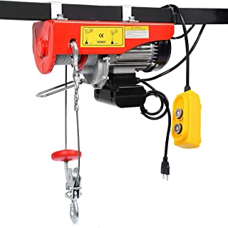 WICHEMI Electric Hoist Lift Overhead Electric Wire Hoist Winch with Remote Control Single/Double Slings, 1500LBS 700KG
