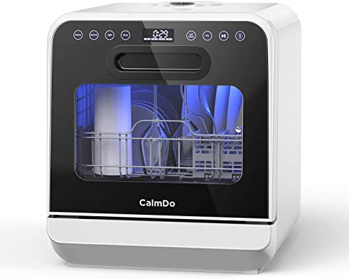 CalmDo Portable Countertop Dishwasher, Fully Automatic Washer with 3 Place Settings No Hookups Needed, 6 Customized P...