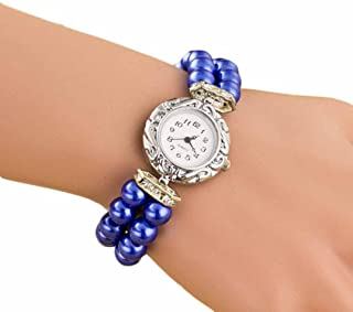 FUNIC Women Students Watch, Fashion Golden Pearl Quartz Bracelet Watch (Blue)