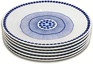 Dinner Plates Set, Doublewhale 6-Piece Dinner Plate Sets 7.5 inch Plate Kitchen Dishes - Blue