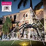 3pcs 200'' Halloween Spider Web 30' Halloween Spider Decorations Stretch Cobweb Fake Spider Giant Spider Web for Indoor Outdoor Halloween Decorations Yard Lawn Home Costumes Party Haunted House Décor