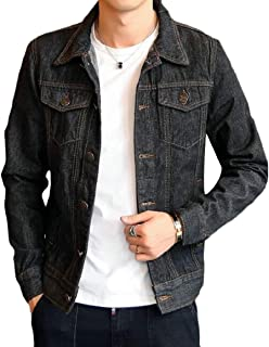 GAGA Men's Classic Washed Western Style Button Down Denim Jacket Jeans Coat