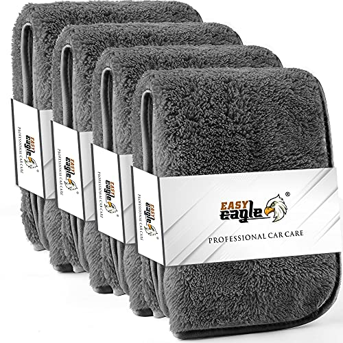 EASY EAGLE Bayetas de Limpieza de Microfibra de 40 x 40 cm, 600GSM Toalla de Secado para Lavado, Secado y Detallado del Hogar y el Automóvil, Paquete de 4