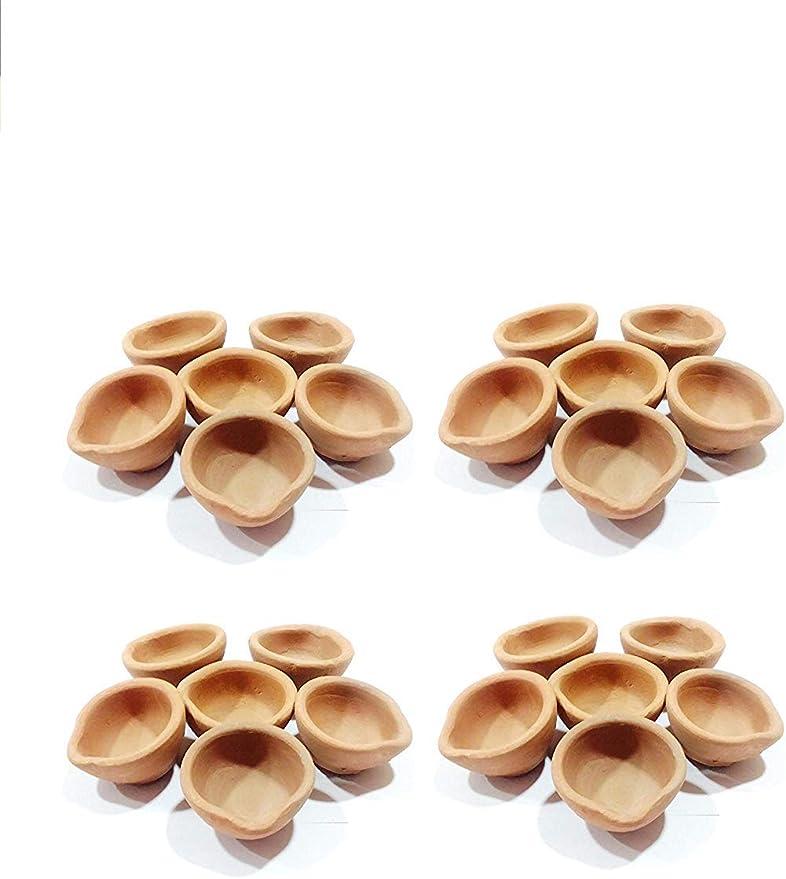 para regalos bati paquete de mechas L/ámparas de aceite de arcilla de tierra templos JX2 Clay Diya 12 unidades hechas a mano festivales decoraciones