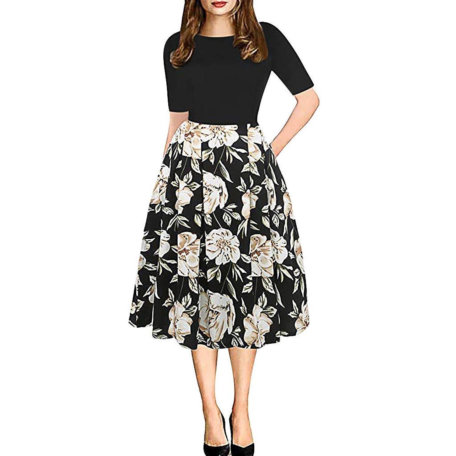 NANTE Top Women Casual Dress Vintage Patchwork Pockets Long Dresses Puffy Swing Print Length Sundress Party Evening Skirt