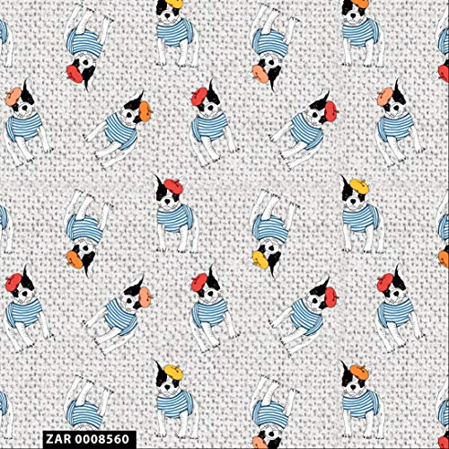 Conversational Stylish French Bulldog Design 100% Cotton Quilting Fabric by The Yard - (Silver, White, Teal, Yellow and Red)