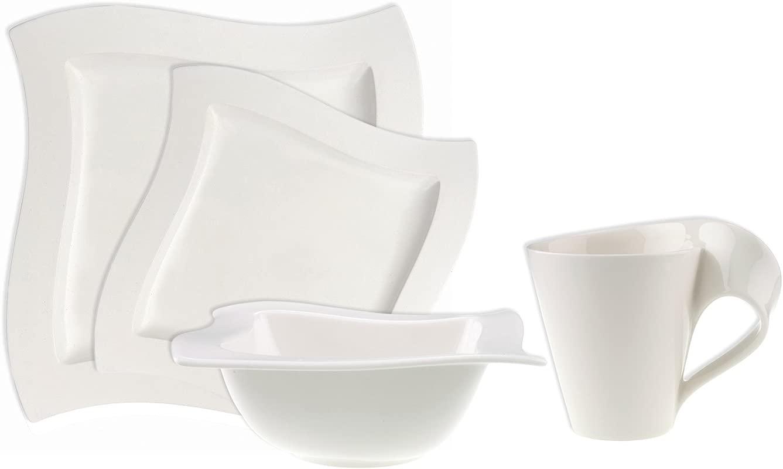 Villeroy Boch 4003683463816 New Wave 4 Piece Place Setting Dinner Salad Plate Bowl And Mug Premium Porcelain Set Of 4 Variable Dinnerware
