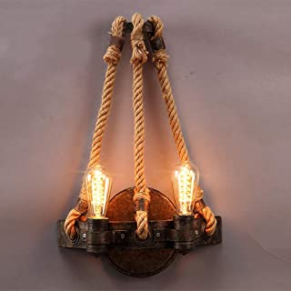 Lámparas de pared Aplique de pared industrial rústico americano con cuerda de cáñamo E27 2 luces Retro Loft Edison Aplique Aplique Vintage Sala de estar Pasillo Dormitorio Luces de noche