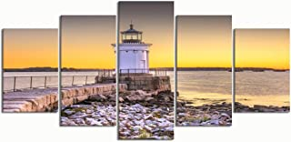 PENGTU Paintings Modern Canvas Painting Wall Art Pictures 5 Pieces, South Portland Maine USA Breakwater Light,Wall Decor HD Printed Posters Frame