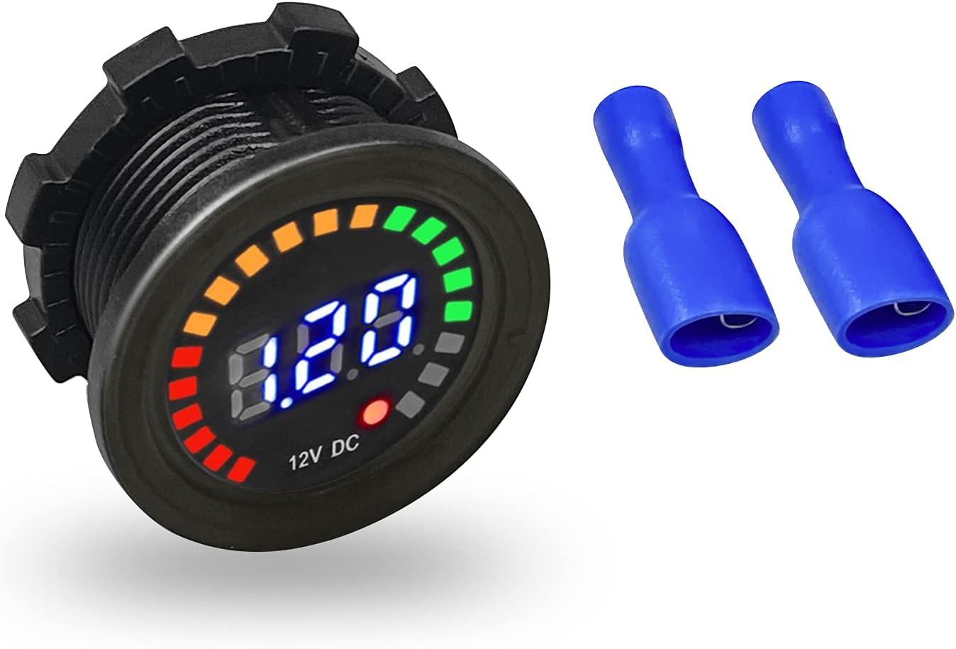 ZOETOOL Medidor de voltímetro 12vDC Color del Coche Pantalla Digital LED Voltímetro Medidor de Voltaje 12vDC Probador de batería para Coche Marino Motocicleta Camión Barco RV
