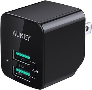 AUKEY USB充電器 ACアダプター 2ポート 超小型 折りたたみ式 軽量 コンパクト スマホ急速充電 AiPower機能搭載 iPhone X / iPhone 8 / iPhone 7 / iPhone 7 Plus / iPhone6...