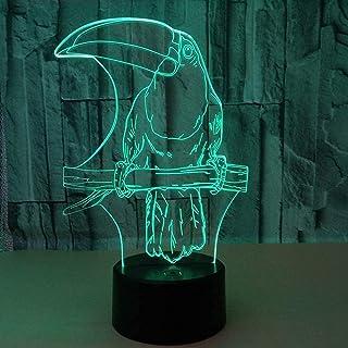 Dightyoho Lampe de Table Toucan LED lumière dégradé coloré 3D stéréo Tactile télécommande USB veilleuse Table de Chevet Jo...