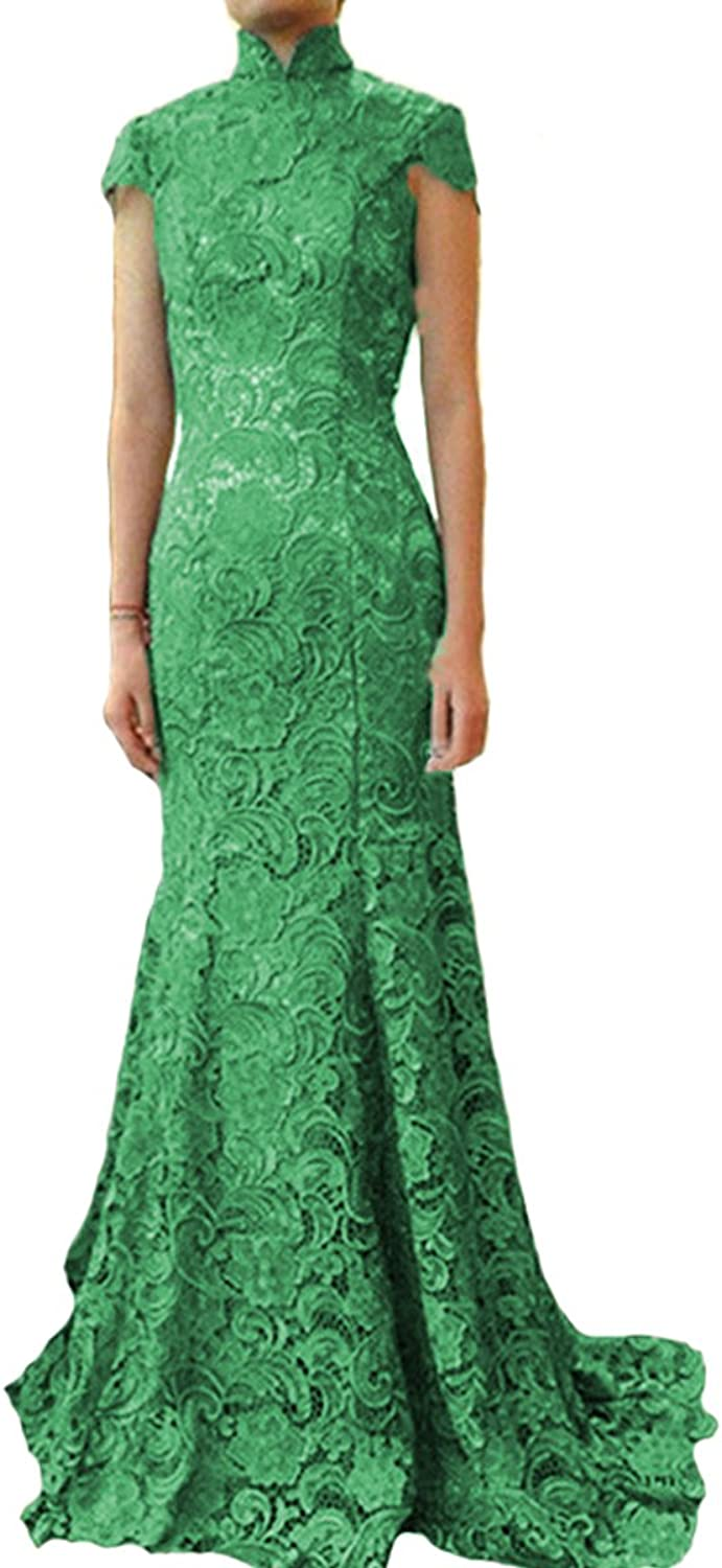 XPLE Women's Elegant Lace Mermaid High Neck Mother of Bridal Evening Dresses Open Back D004