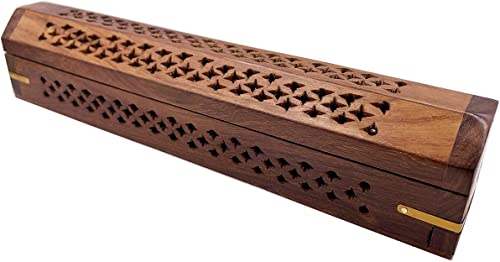high quality Carved Net Design - online sale Wooden Coffin Incense online sale Burner for Incense Sticks and Cones, with Storage Compartment outlet sale