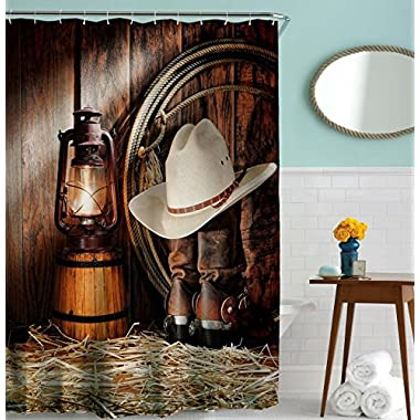 Goodbath Western Shower Curtain Set by, West Rodeo Cowboy Boots and Hat Waterproof Stand Size Fabric Shower Curtains for Bathroom, 72 x 72 Inch, Vintage