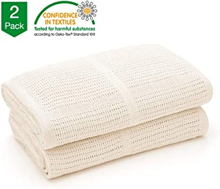 Bloomsbury Mill - Twin Pack - 100% Pure Cotton - Extra Soft & Breathable Cellular Baby Blankets – Ideal Newborn Gift – Perfect for Stroller/Bassinet/Crib - Cream