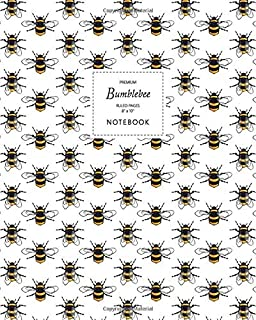 Bumblebee Notebook - Ruled Pages - 8x10 - Premium: (White Edition) Fun notebook 192 ruled/lined pages (8x10 inches / 20.3x...