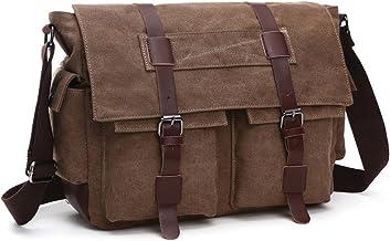 LOSMILE Herren Umhängetasche Schultertasche 16 Zoll Kuriertasche Canvas Laptop Tasche Messenger Bag für Arbeit und Schule. L, kaffeebraun