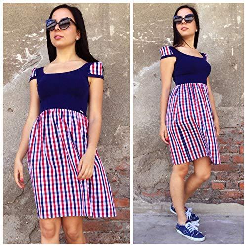 Womens Plaid Dress, kurzärmeliges Kleid, hoch taillierte Kleid, lässige Sommerkleid, Womens Fancy Dress, Fit Flare Kleid, Shirt Kleid
