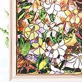 Película De Ventana Privacidad Vinilo Ventana Vinilos Mampara Baño Pegatinas Pared Decorativas Pegatinas De Vidrio para Cocina Y Oficina Baño Fiore A,90x120cm