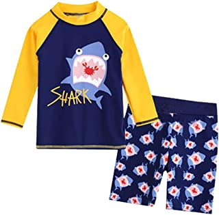 IZHH Toddler Kids Boys Swimsuit,UPF 50+ UV Protection Swimwear Beach Pool Bathing Suit Sets Quick Dry Swim Shirt+Shorts