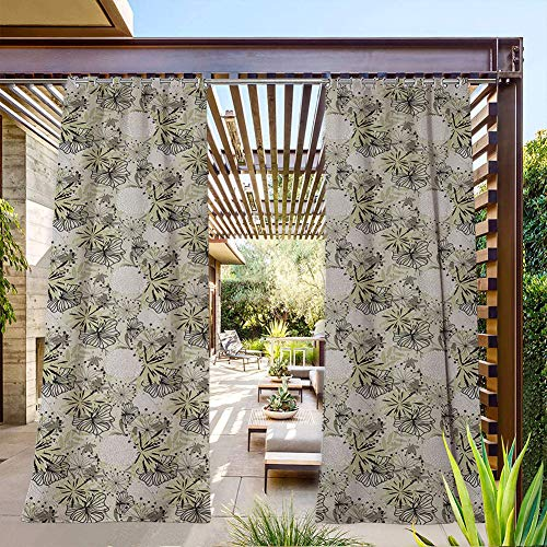 FOEYESEE Outdoor Sheer Curtains for Patio Doodle Floral Outlines and Dandelions Complex Arrangement of Plants Dark Taupe Beige White Thermal Insulated Privacy Protected 72x96 Inch