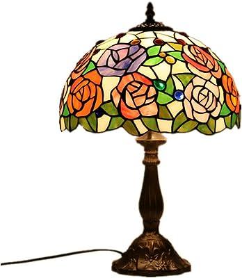 WMING 12 Pouces Tiffany Lampe De Table Rétro Style Vitrail Classique À La Main Antique Modèle Chambre Lampe De Chevet (Pas D'ampoule)