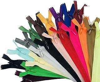 Zíperes de costura de nylon com zíper de 23 peças, 25 cm, zíperes coloridos para costura de alfaiate (Cor mesclada)