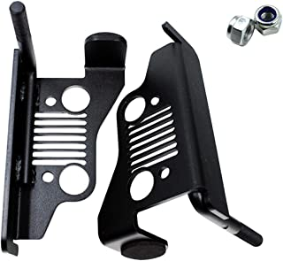iFJF Front Foot Pegs Solid Oxidized Iron -Black Powder Coated Foot Rest Grille Kick Panel for 2007-2017 Jeep Wrangler Jk JL JKU Unlimited(1pair)
