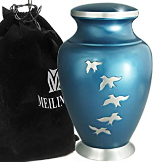 Cremation Urn for Human Ashes Adult - Brass Funeral Urn for Women or Men - Display Burial At Home or in Niche at Columbarium (Silvery Aria Flying Birds / Hummingbird, Blue Metal Urn for Adults Large