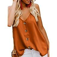 jonivey Women's Button Down V Neck Strappy Tank Tops Casual Sleeveless Chiffon Blouses Vest