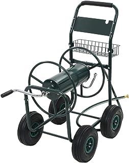 """vidaXL Garden Hose Trolley with 1/2"""" Hose Connector Steel Green Cart Organiser"""