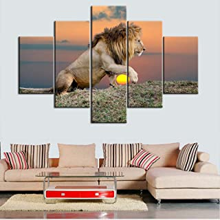 """TUMOVO 5 Piece Animal Pictures on Canvas, Artwork-16, 60""""W x 40""""H"""