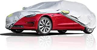 Teexpert Car Cover Waterproof All Weather Vehicle Cover for Tesla Model 3 or Universal 3 Layer UV Protection Breathable Dust Proof for Automobiles with Adjustable Buckle Strap Fits 186
