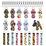 Hobein Cute Design Neoprene Lip Balm Keychain Holder And Wristlet Keychain Lanyard-10 Pack (20 PCS) With 20 Metal Clip Cords (Typ1)