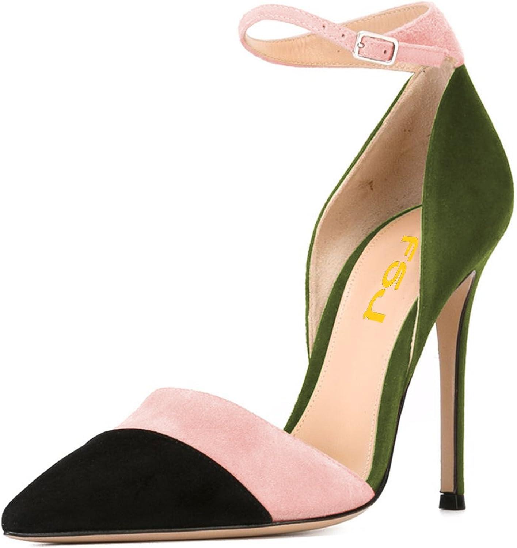 FSJ FSJ FSJ kvinnor Ankle Strap High klackar D'Orsay Pumpar med spetsig tå Stiletto Mode Dress Storlek 4 -15 USA  no.1 online
