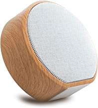 ERLIANG Wood Grain Bluetooth Speaker Mini Portable Card subwoofer Wireless Sound Built-in Polymer Battery 800 mAh,White photo