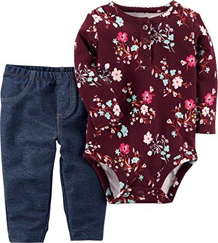 Carter's Baby Girls' 2 Piece Floral Bodysuit And Faux Denim Pants Set 9 Months