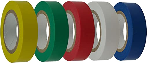 Cambridge Electrical Tape Professional Grade 1/2 Inch by 20 Feet per Roll 5 Rolls 1 Each of Yellow Green Blue White Red