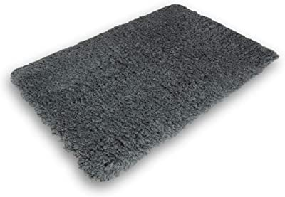 Gray Bath Mat Rug Shag Non Slip Ultra Plush Microfiber Highly Water Absorbent Durable and Washable for Bathroom (20 Inch X 32 Inch)