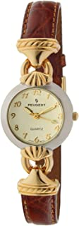 Peugeot Women Easy Reader Everyday Watch with Arabic Numerals and Gold Hinge Brown Strap